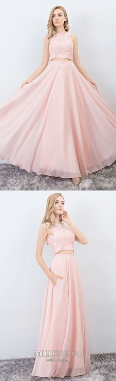 Two Piece Prom Dresses Pink, Long Formal Evening Dresses with Pockets, A-line Military Ball Dresses Chiffon, Gorgeous Pageant Graduation Party Dresses Lace Modest Formal Dresses, Prom Dresses Long Pink, Prom Dresses With Pockets, Prom Dresses Two Piece, Cheap Homecoming Dresses, Simple Prom Dress, Formal Dresses For Teens, A Line Prom Dresses, Pageant Dresses
