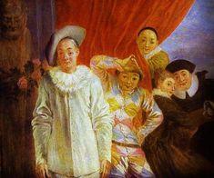 Jean-Antoine Watteau - Harlequin,Pierrot and Scapin, ca. 1715.