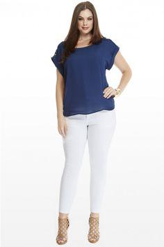Plus Size Atina Button Shoulder Top   Fashion To Figure