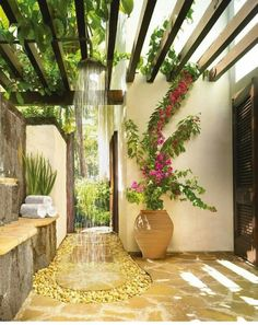 Pergola is usually found in any wedding parties. But it is also possible to make as outdoor decoration. Pergola trellis is one of big ideas to improve your ordinary terrace. It is functional for relaxing space in front of your… Continue Reading → Outdoor Baths, Outdoor Bathrooms, Outdoor Rooms, Outdoor Living, Outdoor Decor, Luxury Bathrooms, Outdoor Ideas, Party Outdoor, Bathrooms With Plants