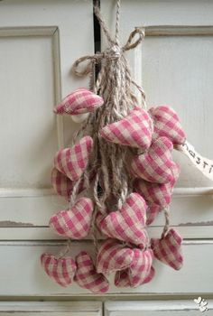Bunch of fabric hearts Valentine Day Crafts, Be My Valentine, Fabric Hearts, I Love Heart, All Heart, Pink Gingham, Gingham Check, Pink White, Heart Crafts