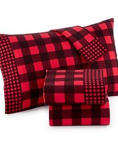 martha stewart cotton flannel sheet set lumberjack blackred plaid queen martha stewart - Flannel Sheets Queen