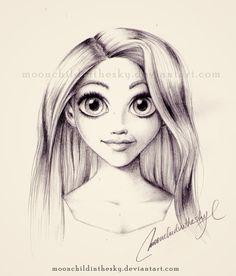 Rapunzel Portrait BnW by MoonchildinTheSky on DeviantArt