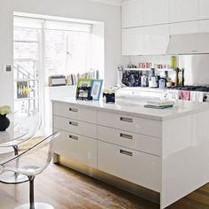 high-gloss white kitchen