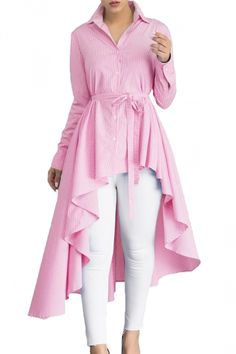 Womens Lapel Strip Belt High Low Ruffle Long Sleeve Blouse Pink