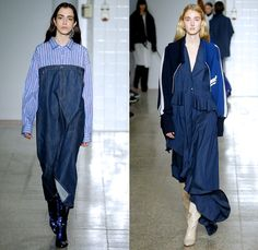 Erika Cavallini 2017-2018 Fall Autumn Winter Womens Runway Catwalk Looks - Milano Moda Donna Collezione Milan Fashion Week Italy Camera Nazionale della Moda Italiana - Denim Jeans Wide Sleeves Strapless Dress Deconstructed Twisted Oversized Repurposed Assemblage Surplus Blouse Long Sleeve Shirt Asymmetrical Hem Off Buttons Stripes Pinstripe Trackjacket Sweatshirt Ruffles Cardigan Pantsuit Turtleneck Knit Sweater Onesie Jumpsuit Coveralls Blazerall Frankenstein Football Padded Shoulders Wool…