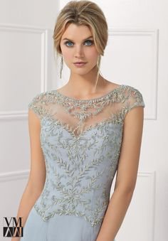 Evening Gown 71120 Tulle Evening Gown with Illusion Neckline and Beaded Embroidered Details Mob Dresses, Fashion Dresses, Bridesmaid Dresses, Beaded Dresses, Mother Of The Bride Dresses Long, Mothers Dresses, Elegant Dresses, Beautiful Dresses, Illusion Dress