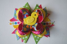Easter Hair Bow with Chick
