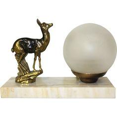 French Table Lamp, Marble base Mood Light. Spelter Deer lamp. Signed.