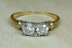 Vintage Antique .50ct Old European Diamond 14k Yellow White Gold Engagement Ring 1920's Art Deco Moi Et Toi Ring by DiamondAddiction on Etsy