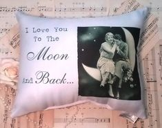 Vintage Style I Love You To The Moon and Back Pillow, Newlywed Gift, Romantic Gift For Her, Wedding Gift, Birthday Anniversary Gift Vintage Style, Vintage Fashion, Vintage Inspired, Personalized Pillows, Handmade Pillows, Funny Face Photo, Funny Pillows, Romantic Gifts For Her, Funny Gags