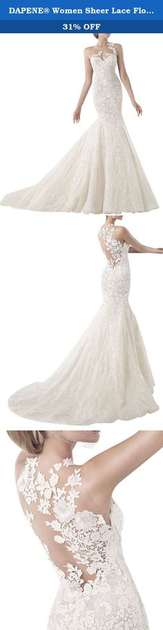 """DAPENE® Women Sheer Lace Flower Mermaid Sweep Custom Size Wedding Dress. Fabric:Lace,Charmeuse DAPENE® insists on the concept of """"Just for You,Just for Love"""". DAPENE® wedding dress is one of our product series.DAPENE wedding dresses are specially designed for those brides who love fashion and nobleness.We offer tailor-made services.It is really a good reflection of beauty and maturity.You must be the most pretty and happiest bride by wearing the wedding dress.Wishing you a world of…"""