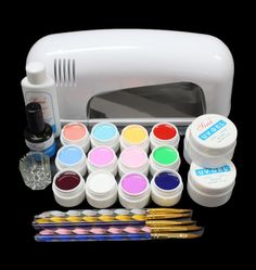 High quality PRO FULL Nail Art Set 9W UV GEL White Lamp 12 Color Pure UV GEL Brush BTT-120 free shipping
