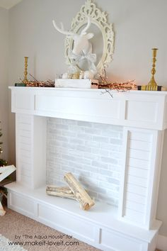Make a FAUX FIREPLACE WITH HEARTH...that looks absolutely real!   via Make It and Love It