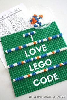 Lego Computer Coding Binary Alphabet - Use LEGOs to learn how binary code works - awesome, fun, hands-on, no-tech coding activity.  Have students make messages and then have their friends decode them.