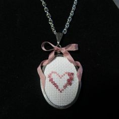 Heart&Flower Cross Stitched Pendant Necklace Mother's Day Gift Original Design by Warmth