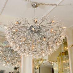 Monumental polished nickel half starburst chandelier | Chandeliers & Pendants | John Salibello