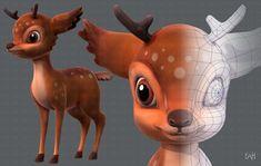 3d Model Character, Character Modeling, 3d Modeling, Character Concept, Character Art, Polygon Modeling, Character Design, Concept Art, Deer Cartoon