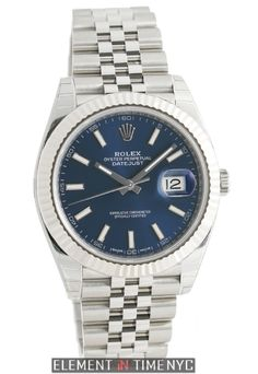 1ebec856c6e Rolex Datejust II Steel 41mm 18k White Gold Bezel Blue Index Dial Jubilee  Bracelet