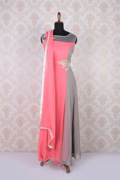 #Peach & #grey georgette embroidered #lovely umbrella cut