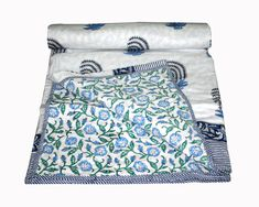 Indian King Size Cotton Block Print Bedding Dohar/AC Blanket Ac Quilt Comforter #Handmade #ArtDecoStyle