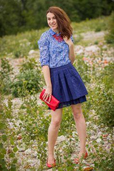 Koton skirt - vintage shoes - Promod shirt - Musette bag - pull necklace