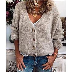 LightInTheBox - Παγκόσμιες Online Αγορές για Φορέματα, Σπίτι & Κήπος, Ηλεκτρονικά Προϊόντα, Ένδυση Γάμου V Neck Cardigan, Long Cardigan, Long Sleeve Sweater, Sweater Cardigan, V Neck Sweaters, Cheap Cardigans, Cardigans For Women, Loose Sweater