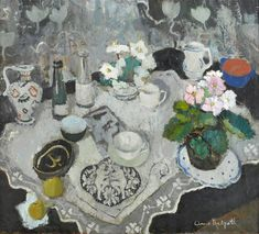 anne redpath(1895–1965), the lace cloth, c.1944. oil on board, 79.9 x 89.9 cm…
