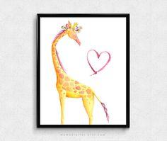 SALE   Giraffe Watercolor Animal Woodland Zoo by MomoDigital
