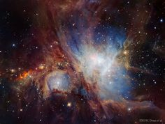 The majestic Orion Nebula shows the true power of our Universe. This image shows the heart of the nebula where most star formation is found. Hubble Space Telescope, Space And Astronomy, Infrared Telescope, Constellations, Nebula Tattoo, Astronomy Pictures, Hubble Pictures, Nasa Photos, Milky Way