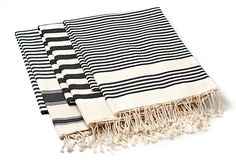 Set of 3 Fouta Stripes, Charcoal on OneKingsLane.com or basicfrenchonline.com.  Towels/sarongs etc from turkey and north africa