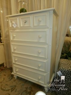 Classic and forever, rubbed white chest of drawer measuring 36*18*54. Perfect as it is or add some fun new knobs to bring and make it a focal point of your room.