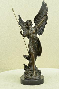"NIKE Goddess Winged Female Warrior Bronze Metal Sculpture 18"" x 10"""