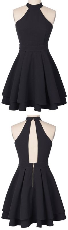 Let's go party Babe! Free shipping Now! This classic LBD is detailed with halter, back zipper&two-layer pleated skirt! Catch all those eyes with Cupshe.com