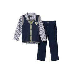 Toddler Boy Boys Rock Knit Vest, Plaid Shirt & Corduroy Pants Set, Size: 2T, Blue (Navy)