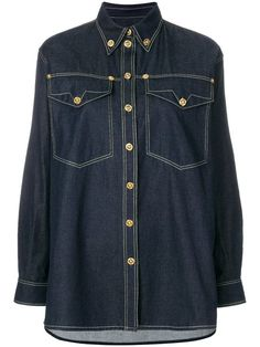 53bfcdfb293 Versace Embellished Button Denim Shirt - Farfetch