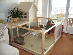 Indoor Cage with Playpen - would make a great space for a new puppy while housebreaking.  : )