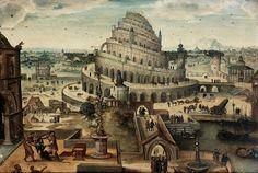 Attribué à Abel Grimmer (vers 1570-avant 1619), La Tour de Babel