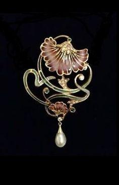 French Art Nouveau Plique A Jour Enamel 18K Brooch with Pearl Drop Gemstones.