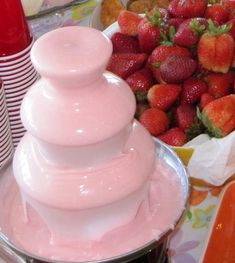 Girl Baby Shower / bday or / girls night Party Idea : pink chocolate fountain ~ just add a drop of red food coloring to white chocolate!
