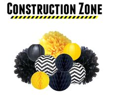 CONSTRUCTION ZONE 10-Piece Tissue Pom, Paper Lantern & Honeycomb Tissue Ball Set - Yellow and Black Construction Themed Party Decorations