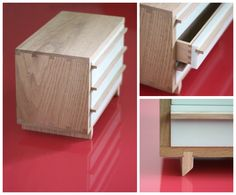 Modern oak and Corian jewelry box prototype by Oh Dier.