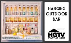Hanging Outdoor Bar from shipping pallets.  @Tiffany Denny you may need one of these in your shop!!!!