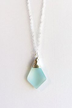Sea Glass Necklace, Handmade Beach Glass Jewelry, Blue Green Frosted Pendant with Dainty Silver Chain.