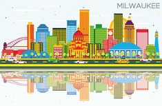 Milwaukee Skyline with Color Buildings, Blue Sky and Reflections. - Buildings Objects Download here : https://graphicriver.net/item/milwaukee-skyline-with-color-buildings-blue-sky-and-reflections/20086704?s_rank=261&ref=Al-fatih
