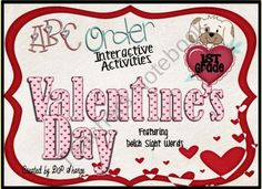 ABC Order Valentine's Day Interactive Activities Featuring Dolch Sight words, First Grade Promethean Flipchart product from A-Teacher-in-Paradise on TeachersNotebook.com