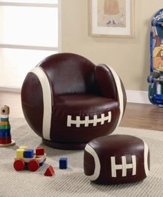 Football Chair & Matching Ottoman made for Smaller Children by Toscana Home Interiors,  KID'S CLOTHES AND NURSERY to buy just click on amazon here www.amazon.com/... A REAL DEAL a-real-deal.com
