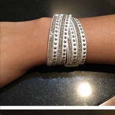 white wrap bracelet Adjustable. Faux leather. Sparkly. Adds style to any outfit.  Can also be worn as a choker Jewelry Bracelets