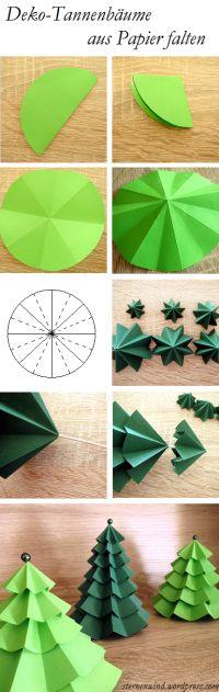 Das Bild erklärt euch super einfach, wie ihr aus grünem Papier, Schaschlikspießen und Perlen total süße Tannenbäumchen als Deko basteln könnt. Ihr braucht pro Tannenbaum und je nach Größe etwa 3 bis 7 verschiedengroße Kreise, die ihr 8x faltet, so...