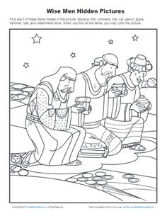 Wise Men Hidden Pictures Finding the hidden items in this picture of the wise men gives children a fun activity to do as they learn that the wise men worshiped Jesus. Bible Activities For Kids, Activity Sheets For Kids, Bible Lessons For Kids, Church Activities, Bible Games, Primary Activities, Kids Bible, Kindergarten Sunday School, Sunday School Activities